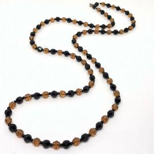 🆕Vintage Black & Amber Crystal Necklace
